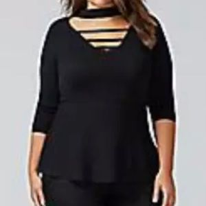 NWT Lane Bryant Peplum Choker Sweater Top Sz 14/16